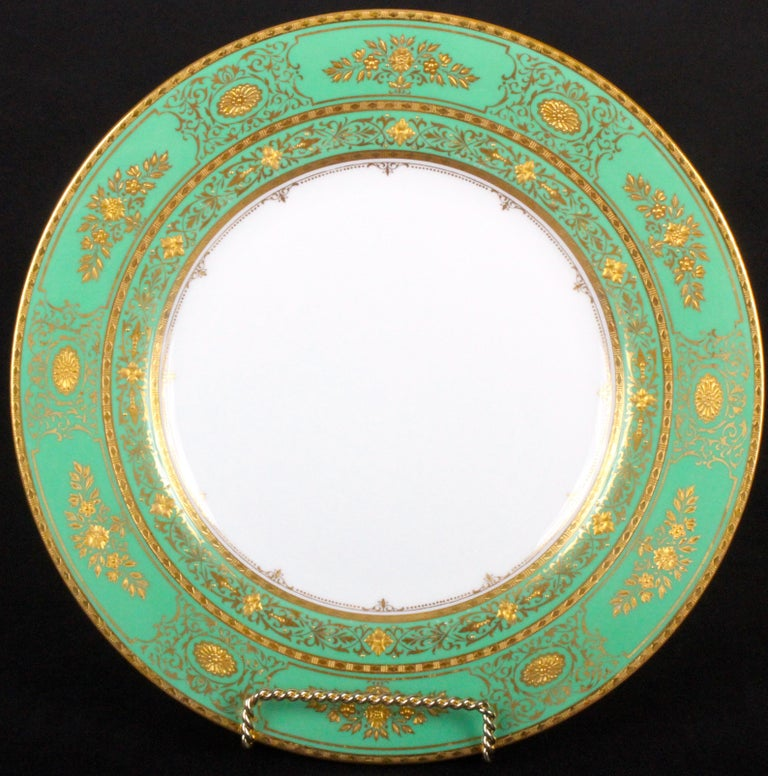 English Service for 18 of Minton for Tiffany, Green and Gold For Sale