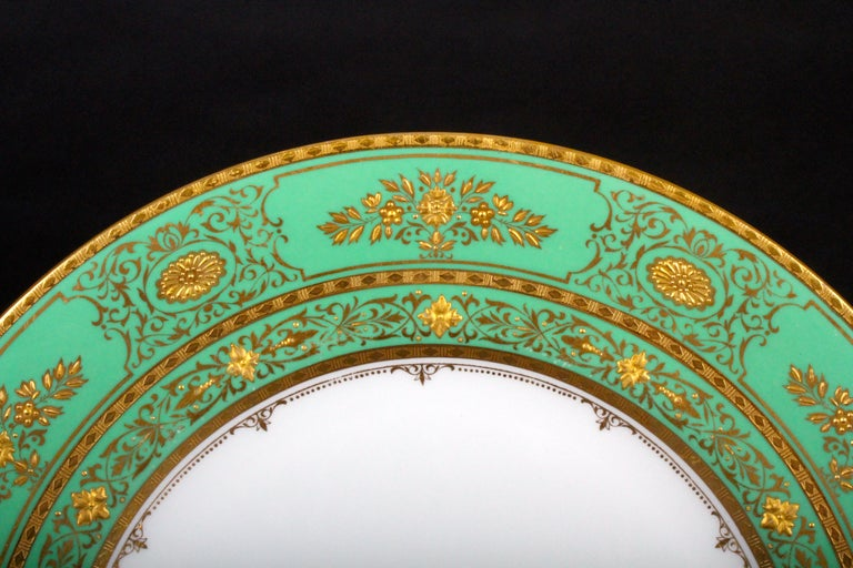 Hand-Crafted Service for 18 of Minton for Tiffany, Green and Gold For Sale