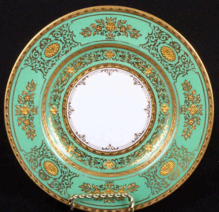 Mid-20th Century Service for 18 of Minton for Tiffany, Green and Gold For Sale
