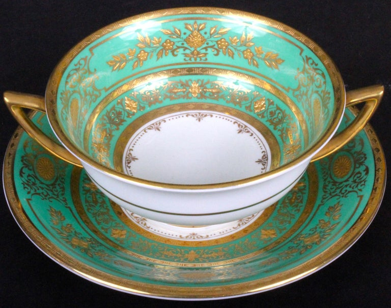 Porcelain Service for 18 of Minton for Tiffany, Green and Gold For Sale