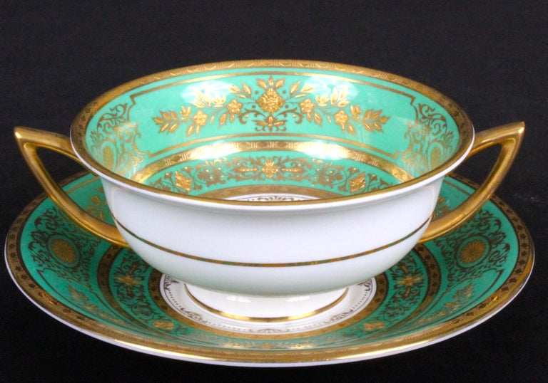 Service for 18 of Minton for Tiffany, Green and Gold For Sale 1
