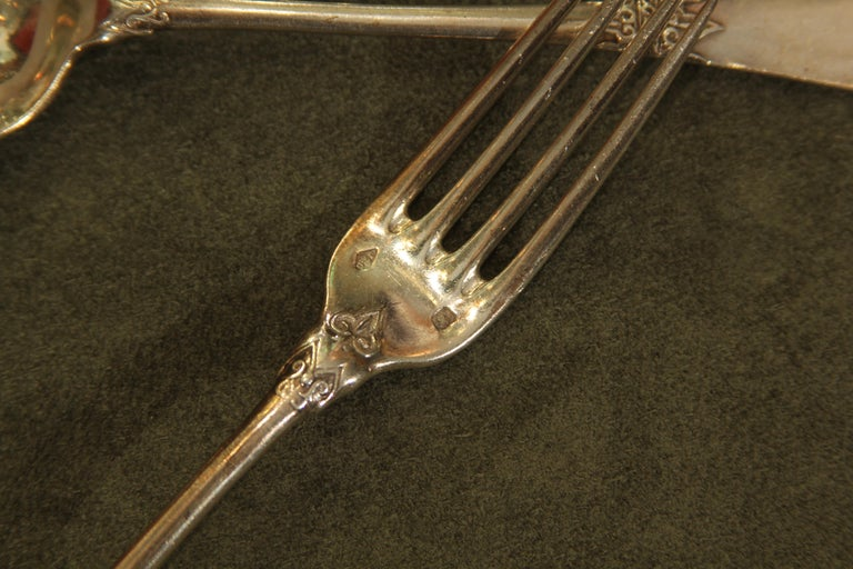 Service for Twelve Custom Sterling Flatware by Parisian Jeweler Fontana Freres For Sale 3
