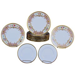 Service of 11 Minton Lilac Hand Painted Floral Plates with Accompanying Plates