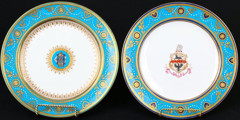 Service of Minton Turquoise and Gold Encrusted Armorial Plates with Side Plates For Sale 3