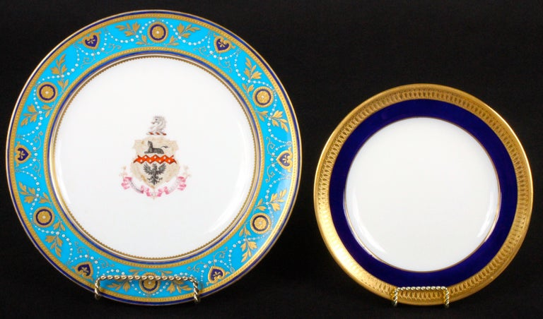 English Service of Minton Turquoise and Gold Encrusted Armorial Plates with Side Plates For Sale