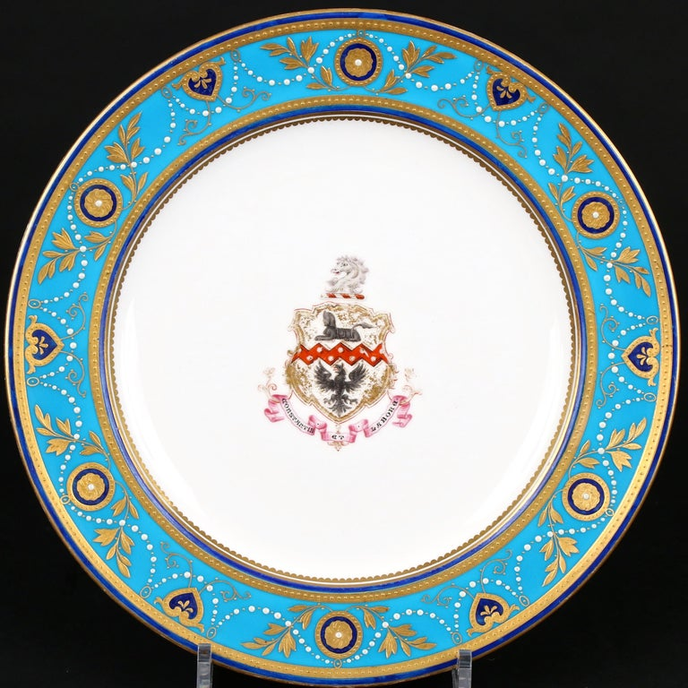 Service of Minton Turquoise and Gold Encrusted Armorial Plates with Side Plates In Good Condition For Sale In New York, NY