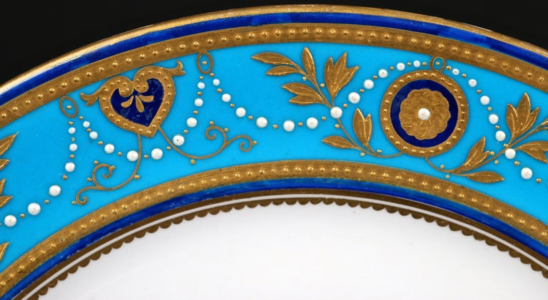 Service of Minton Turquoise and Gold Encrusted Armorial Plates with Side Plates For Sale 1