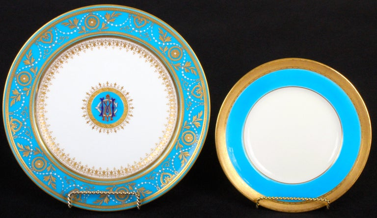 Victorian Service of Minton Turquoise and Gold Monogrammed Plates with Side Plates For Sale