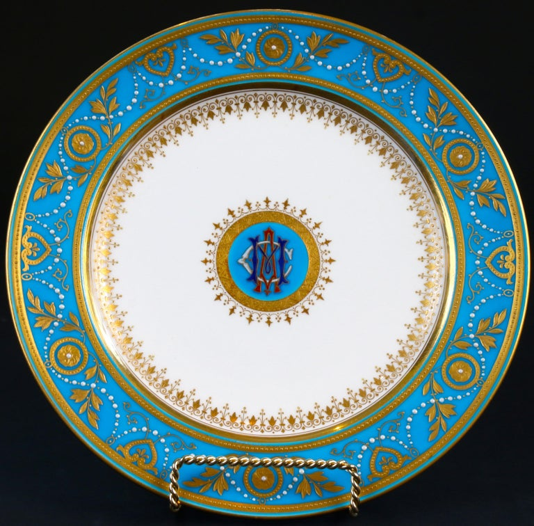 English Service of Minton Turquoise and Gold Monogrammed Plates with Side Plates For Sale