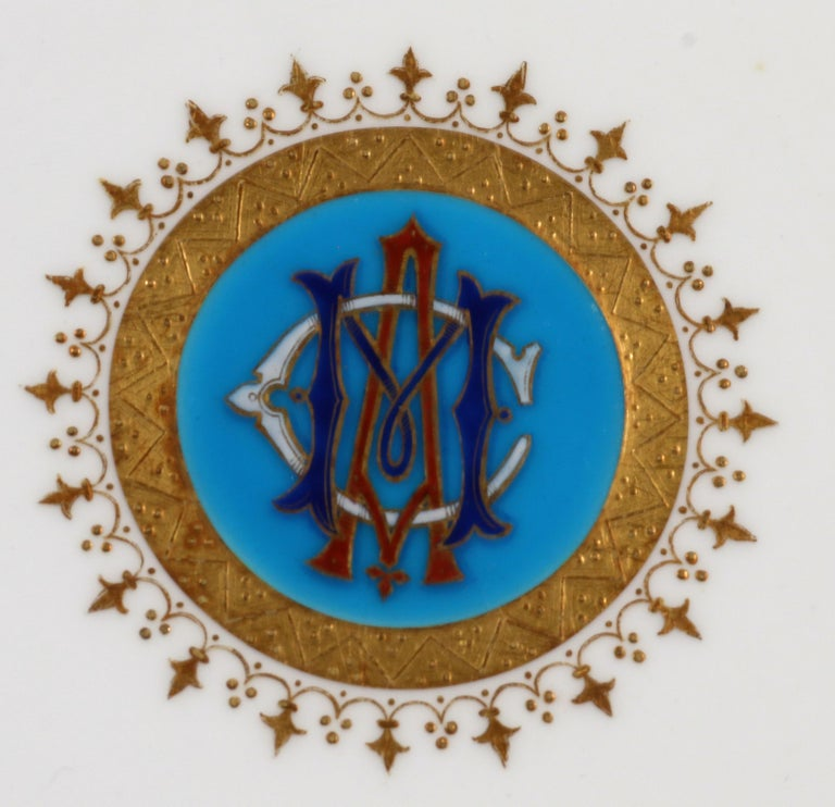 Enameled Service of Minton Turquoise and Gold Monogrammed Plates with Side Plates For Sale