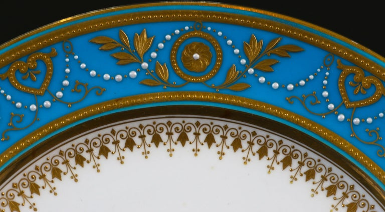 Service of Minton Turquoise and Gold Monogrammed Plates with Side Plates In Excellent Condition For Sale In New York, NY