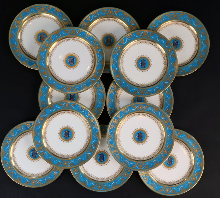 Late 19th Century Service of Minton Turquoise and Gold Monogrammed Plates with Side Plates For Sale