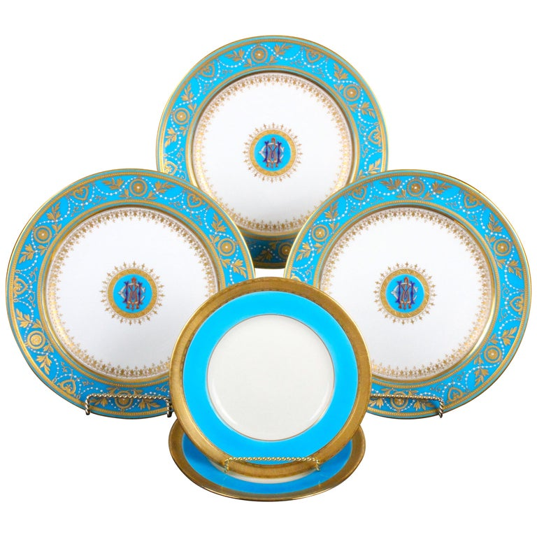 Service of Minton Turquoise and Gold Monogrammed Plates with Side Plates For Sale