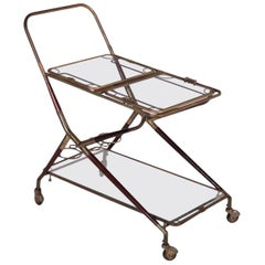 Service Trolley Wood Brass Glass, Italy, 1950s