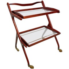 Serving Bar Cart by Cesare Lacca in Wood, Brass and Glass, Italy, 1950s