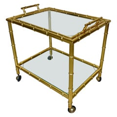 Serving Bar Cart Tray in Brass Faux Bamboo Effect and Glass, Italy, 1960s