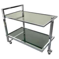 Serving Bar Cart Trolley Chrome and Smoked Glass Romeo Rega Style, Italy, 1970s