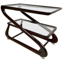 Serving Bar Cart Trolley in Mahogany and Glass by Cesare Lacca, Italy, 1950s