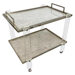 Serving Cart and Tray Nickel and Lucite Ice Effect Willy Rizzo, Italy, 1970s