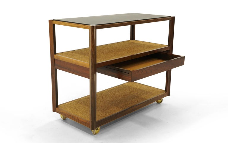 Mid-Century Modern Serving Cart by Edward Wormley, Rosewood Frame, Black Slate Top, Cork Shelves For Sale