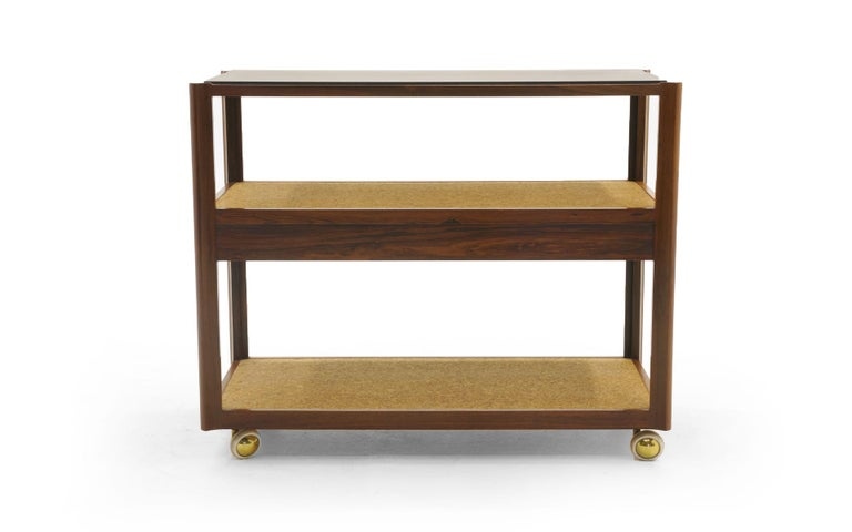 Brass Serving Cart by Edward Wormley, Rosewood Frame, Black Slate Top, Cork Shelves For Sale