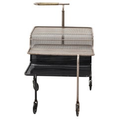 Serving Cart by Mathieu Matégot, Grey & Black Steel Brass & Rubber, 1950, France