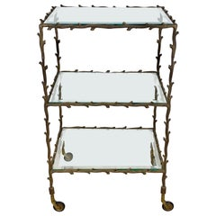 Serving Cart Trolley by Maison Baguès Brass Branches and Glass France, 1950s