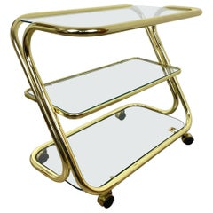 Serving Cart Trolley in Glass and Golden Metal by Morex, Italy, 1980s