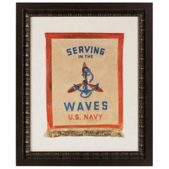 Serving in the Waves, an Extremely Rare WWII Service Banner