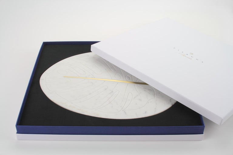 Carved Serving Plate, Cutting Board in Carrara Marble and Brass Inlay by Pieruga Marble For Sale