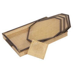 Serving Set for Bar in Lucite, Rattan and Brass by Alberto Sordi