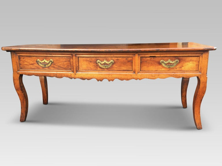 Fine quality serving table / dresser base in cherrywood, circa 1800.