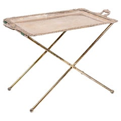 Serving Table in Silvered Metal, Tray and Legs, End 19th Century