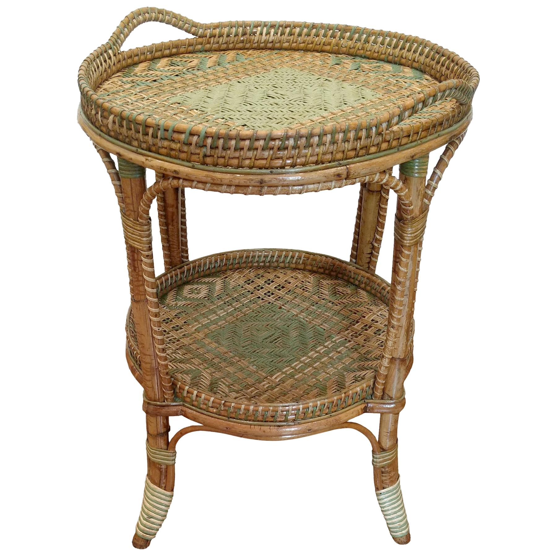 Serving Table in Woven and Lacquered Rattan, France, circa 1900