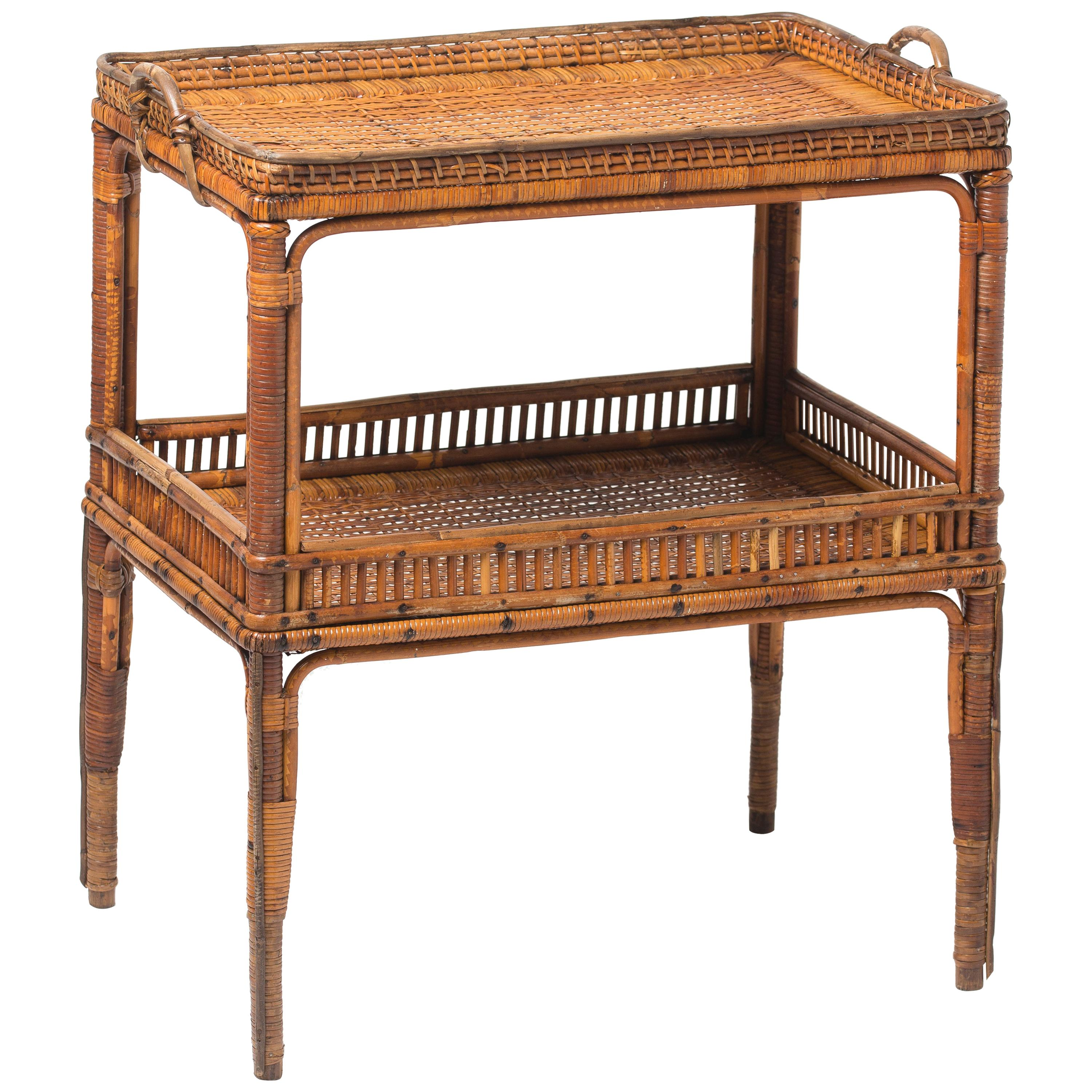 Serving Table in Woven Rattan, France, circa 1900