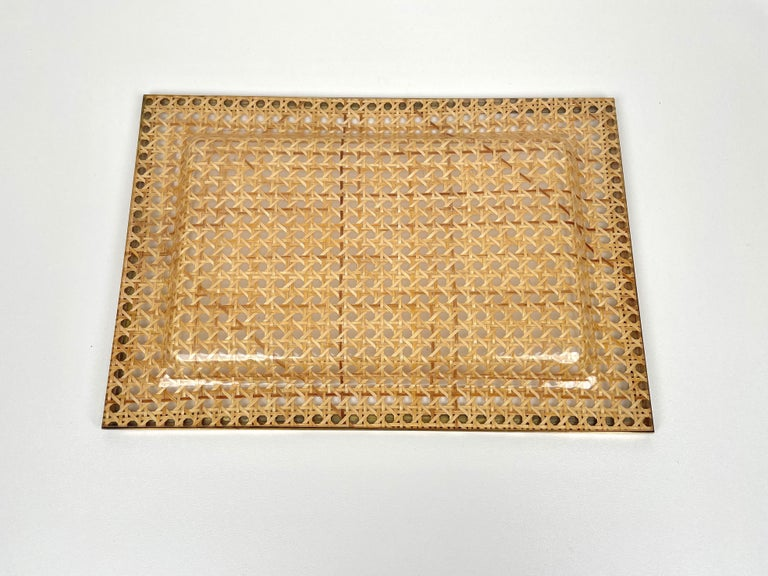 Serving Tray Centrepiece Christian Dior Home Brass Lucite and Wicker, 1970s 3