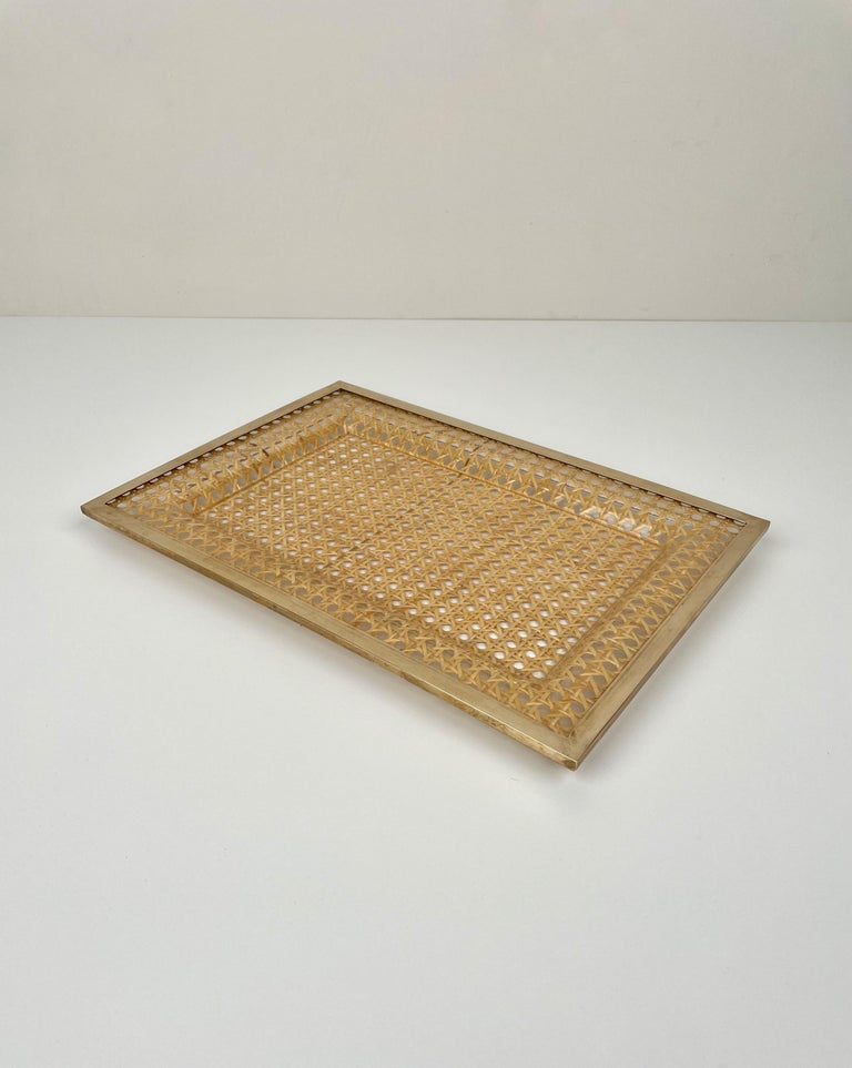 Mid-Century Modern Serving Tray Centrepiece Christian Dior Home Brass Lucite and Wicker, 1970s