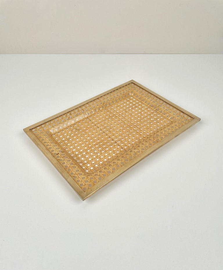 French Serving Tray Centrepiece Christian Dior Home Brass Lucite and Wicker, 1970s