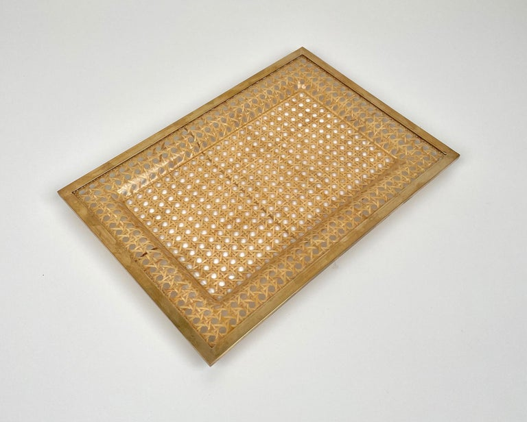 Serving Tray Centrepiece Christian Dior Home Brass Lucite and Wicker, 1970s In Good Condition In Rome, IT