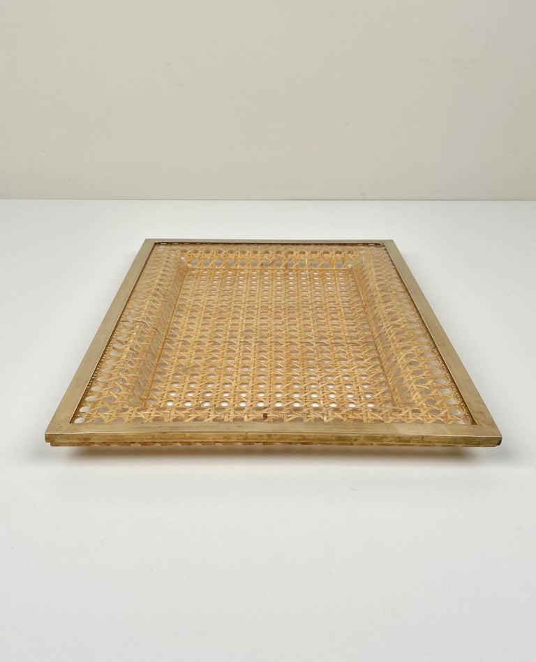 Late 20th Century Serving Tray Centrepiece Christian Dior Home Brass Lucite and Wicker, 1970s