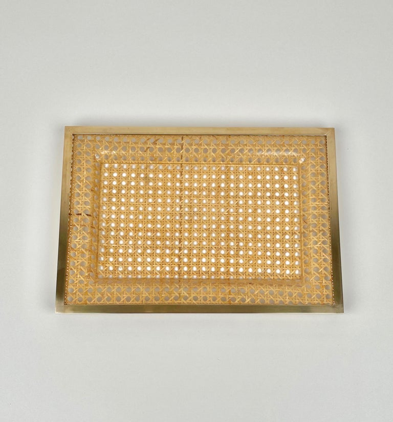 Metal Serving Tray Centrepiece Christian Dior Home Brass Lucite and Wicker, 1970s