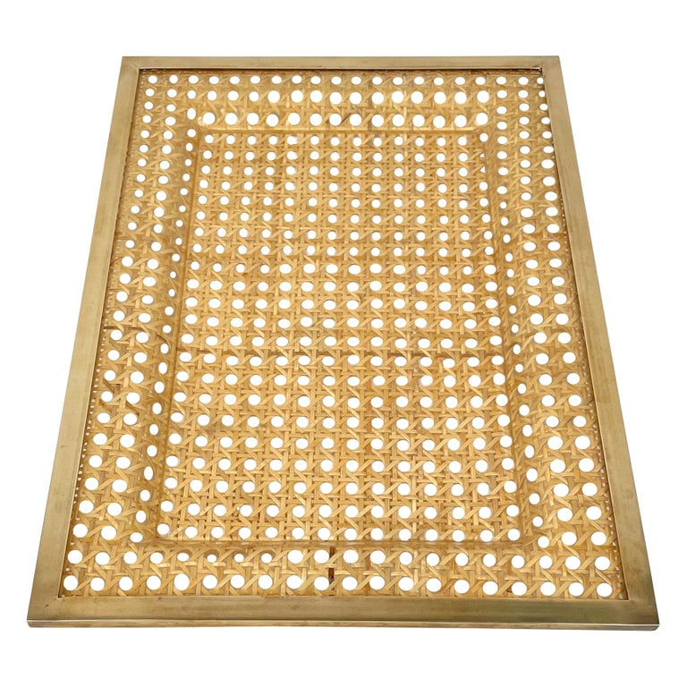 Serving Tray Centrepiece Christian Dior Home Brass Lucite and Wicker, 1970s