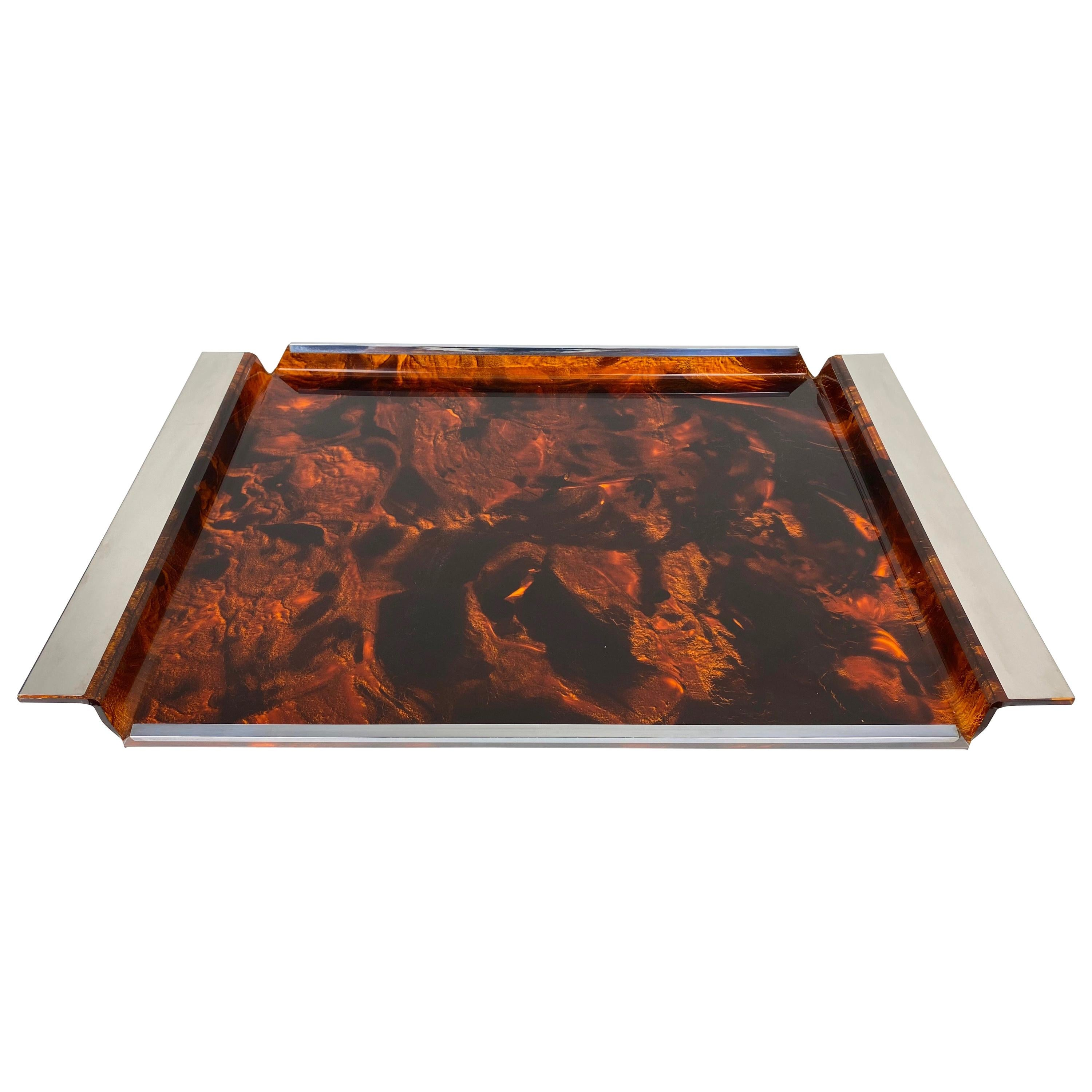 Serving Tray Faux Tortoise Shell Lucite and Chrome 1970s Willy Rizzo Style Italy