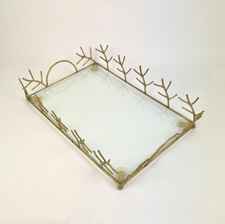 Mid-Century Modern Serving Tray in Glass and Golden Metal Branches Maison Baguès Style France 1970s For Sale