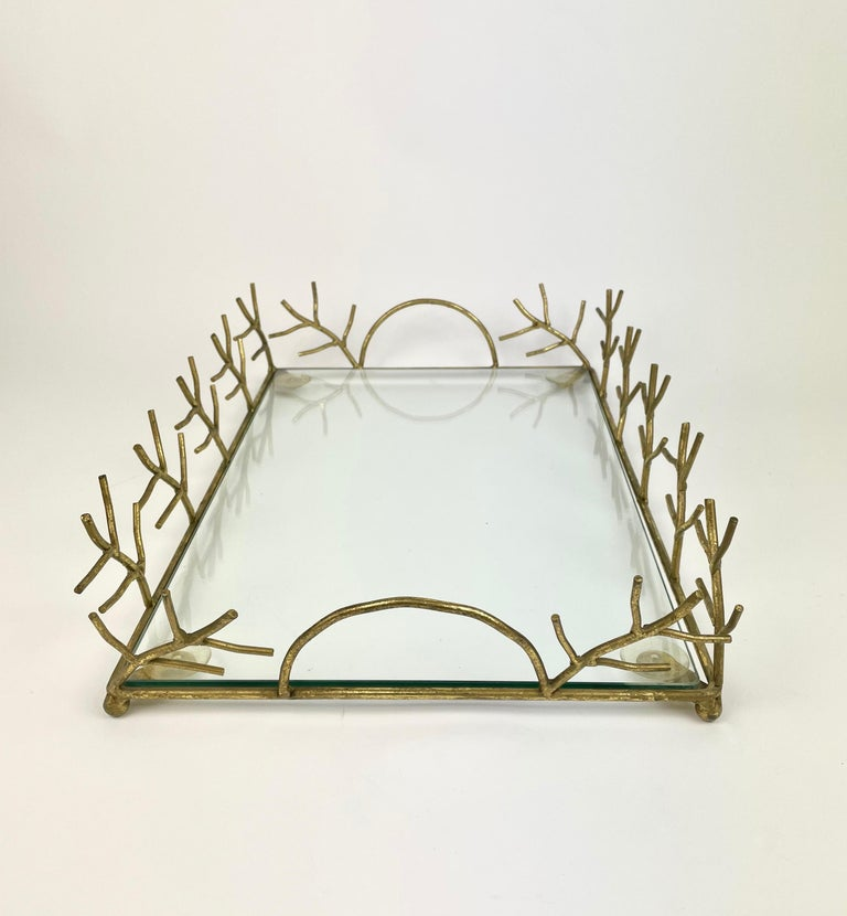 Italian Serving Tray in Glass and Golden Metal Branches Maison Baguès Style France 1970s For Sale
