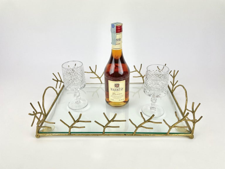 Late 20th Century Serving Tray in Glass and Golden Metal Branches Maison Baguès Style France 1970s For Sale