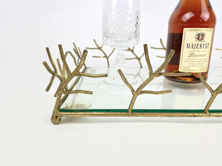 Serving Tray in Glass and Golden Metal Branches Maison Baguès Style France 1970s For Sale 1