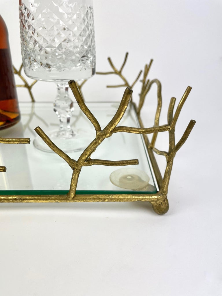 Serving Tray in Glass and Golden Metal Branches Maison Baguès Style France 1970s For Sale 2