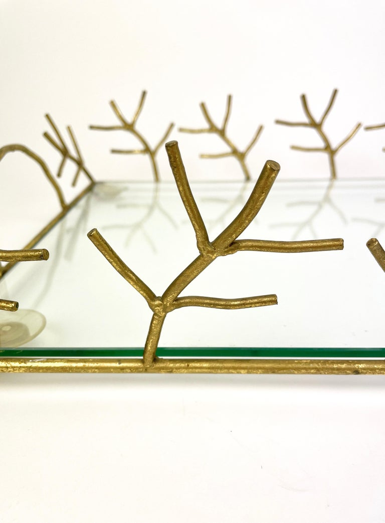 Serving Tray in Glass and Golden Metal Branches Maison Baguès Style France 1970s For Sale 3