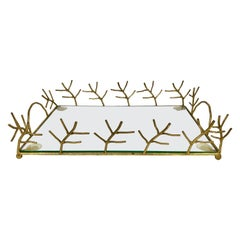 Serving Tray in Glass and Golden Metal Branches Maison Baguès Style France 1970s